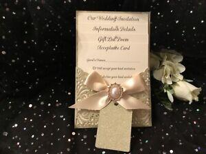 WEDDING INVITATION VINTAGE  CHAMPAGNE GLITTER & IVORY LASER CUT WRAPPED