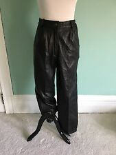 Vintage High Waisted Italian Leather Straight Slouchy tapered Leg Pants Sz 8