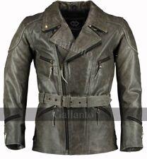 3/4 Distressed Eddie 3/4 Mens Motorcycle Biker Long Vintage Leather Jacket
