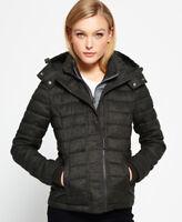 New Womens Superdry Hooded Fuji Triple Zip Through Jacket Green
