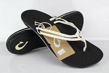 Olukai Woimen's Unahi Thong Flip Flop Sandals White Black