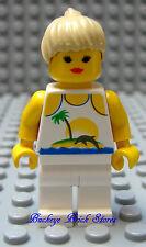 Lego Female Minifig PARADISA SURFER GIRL Torso w/Palm Tree Dolphin Blond Hair