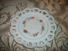 HP MILK GLASS ROSES VINTAGE PLATE SHABBY COTTAGE CHIC COLLECTIBLE