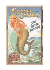 Mermaid Oysters Vintage Retro Tin Metal Sign