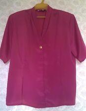 Vintage 90s Pink Blouse Shirt Top Womens Summer Short Sleeve Size 14