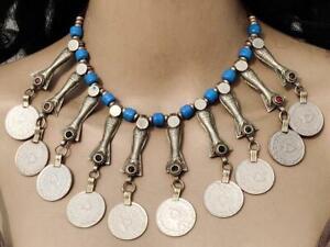 Banjara Vintage Kuchi Handmade Tribal Boho Glass Beads Coins Pendant Necklace