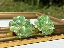 Vtg Green Moonglow Glass Beads Cluster Clip On Earrings