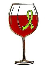 Red Wine Glass Tasting Fund Raising Lime Green Ribbon Pin Lymphoma Awareness