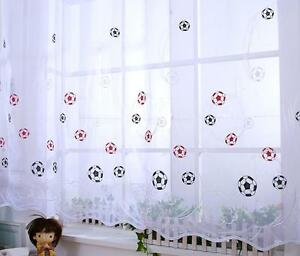 Embroidered Slot Top FOOTBALL Kids Boys Girls Children's Voile Net Curtain Panel
