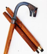 New listing Antique Brass Wolf Head Designer Handle Vintage Brown Walking Cane Wooden Stick