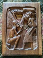 """African Wood Plaque High Relief Hand Carved Folk Art Wall Hanging - 1.5"""" Thick!"""