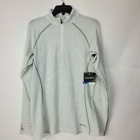 NWT Eddie Bauer Womens White Striped FreeHeat Pro Base Layer Top 1/4 Zip Large