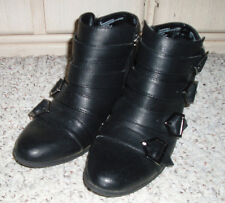 SAM & LIBBY Strappy Side Zip 4 Buckle Ankle Boots~Black~Size 6 M