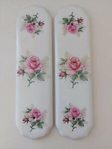 Pair B.E.L. PRODUCTS Pink Porcelain Rose Design / Patterned DOOR FINGER PLATES