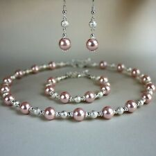 Blush pink large pearls collar necklace earrings silver wedding bridesmaid set