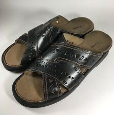 Clarks Black Leather Sandals Slides Comfort Shoes w/ Cutouts Women's 8 Medium