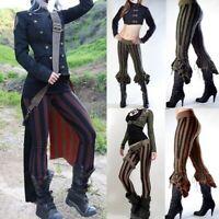 Women Steampunk Victoriana Striped Ruffle Pants Cosplay Costume Skinny Leggings