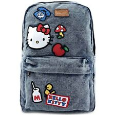 """NEW Loungefly X HELLO KITTY """"Icon Patch"""" Denim Backpack -SALE"""