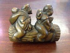 "1940's Japanese handmade Boxwood Netsuke ""two oldman On boat"" Figurine Carving"