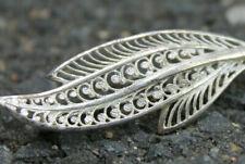 Jugendstil Art Deco Brosche 800 Silber filigran Blatt