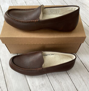 Vionic Mens Sz 9.5 Borough Tompkin Brown Leather Moccasin Slippers New In Box