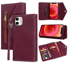 iPhone 12 Pro 12 5G Card Holder Case with Crossbody Lanyard Zipper Wallet Case