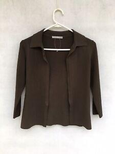 🦋 Womens Scanlan Theodore Viscose 3/4 Sleeve Crepe Knit Jacket Cardigan Size S