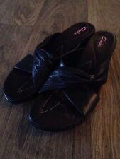 Womens Clarks #70511 Black Leather Slide Wedge Sandals Shoes US 8 Medium