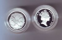 1991 SILVER Proof 5 Cent Echidna Ant Eater Australia ex Masterpieces in Set