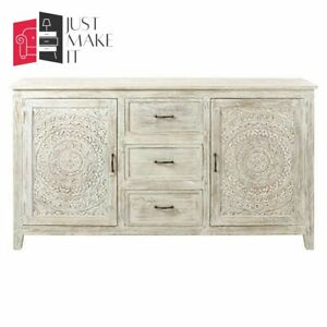 MADE TO ORDER Hand Carved Indian Handmade Solid Wood Whitewash Sideboard Floral