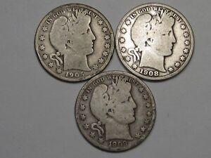 3 US Barber Half Dollars: 1905-s, 1908-o & 1909-s. #13