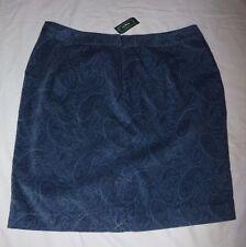 LL Bean Pencil Skirt Paisley Velventeen Misses 14 Pet Favorite Fit Bayside Blue