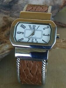 Ecclissi Sterling Silver Case & Braided Leather Hinged Cuff Watch New Battery