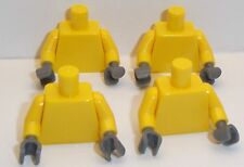 Lego Yellow Torso's x 4 with Dark Stone Grey Hands for Miinifigure