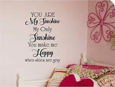 You are my SUNSHINE Wall lettering Mural Vinyl Decal Lettering Quotes