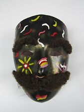 Vintage unique hand made & painted Black Leather Mask with facial hair Wall Art