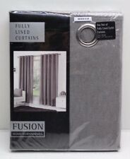 NEW Fusion Sorbonne Ready Made Fully Lined Eyelet Curtains Size & Colour Choice