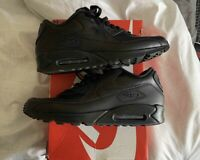 Nike Air Max 90 Blackout Black Leather Shoes Men's Sz 11.5 302519-001