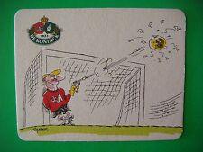 Beer Coaster: DE KONINCK Brewery ~ Antwerpen, Belgium; Soccer Cartoon by Brasser