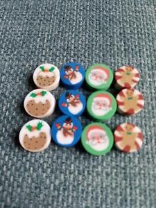 10 Christmas Polymer Beads - Choose Christmas Pudding, Santa,Snowman,Gingerbread