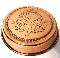 """Vtg. Copper Punched Pineapple 8.75"""" Pan Wall Hanging Jello Cake Mold Kitchenware"""