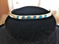 STERLING SILVER 925 BANGAL BRACELET, GENUINE TURQUOISE STONES, TAXCO, MEX., NEW