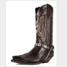 Mens PU Leather Embroidered Metal Chain Mid Claf Western Cowboy Boots Shoes new