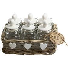 Conjunto de 6 jarras de almacenamiento de vidrio recipientes para la cocina cesta de Mimbre Cesto Vintage Nuevo