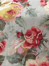vintage looking floral cabbage roses/shabby chic washed look drapery fabric