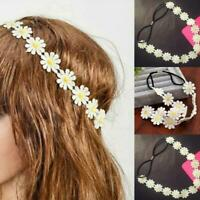 Fashion Women White Daisy Elastic Headband Headwear Flower Hair Access Gifts