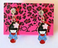 Betsey Johnson Crystal Rhinestone Enamel Geisha Girl Post Earrings