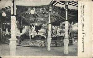 Amusement Park Carousel Salon J. Tewe Interior c1900 Postcard MERRY-GO-ROUND