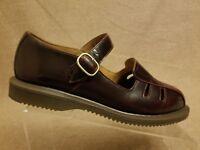 Dr.Martens Deardra Women Shoes Leather Burgundy Mary Jane Strap Sandals Size 9 L