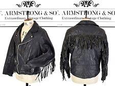 Men's Vintage 70s Black REAL LEATHER Fringed Biker Motorcycle Punk Jacket UK M